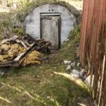 Gammal dörr till jordkällare